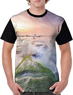 Man's T Shirts,Malaysia Landmark Nature Wonders Photo of Fountains Stream Mossy Rocks with Ombre Sky