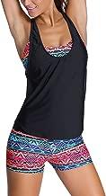 Sidefeel Women Tribal Printed Tankini with Boyshort Bikini Set