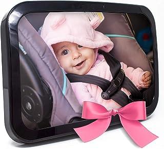 Espejo de bebé para asiento trasero para bebé – Espejo retrovisor para asiento de coche para bebé, vidrio convexo a prueba de golpes y certificado para seguridad (negro)