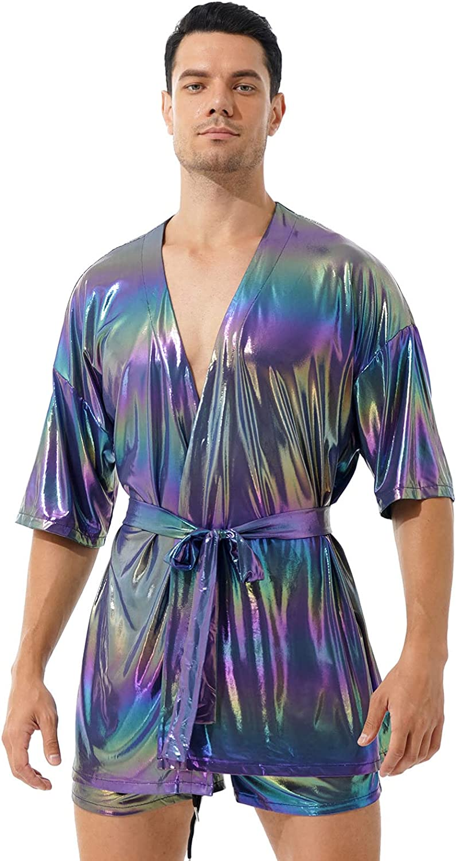 CHICTRY Men's Shiny Pajamas Set Half Sleeve Belted Cardigan Tops with Shorts Sleepwear Loungewear Pjs