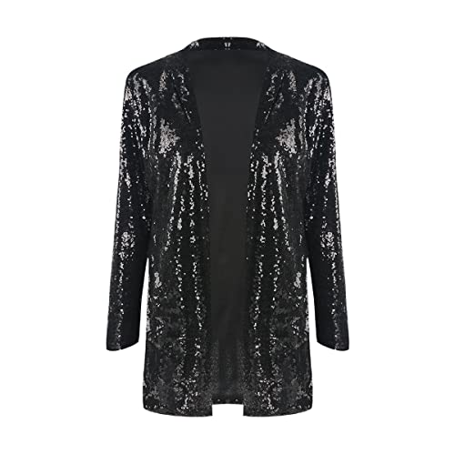 db81b1f2 IRISIE Women Sparkle Sequins Open Front Long Sleeve Blazer Jacket