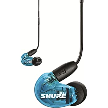 Shure SE215 Sound Isolating Earphones with 3.5mm Cable, Remote and Mic, Special Edition Blue