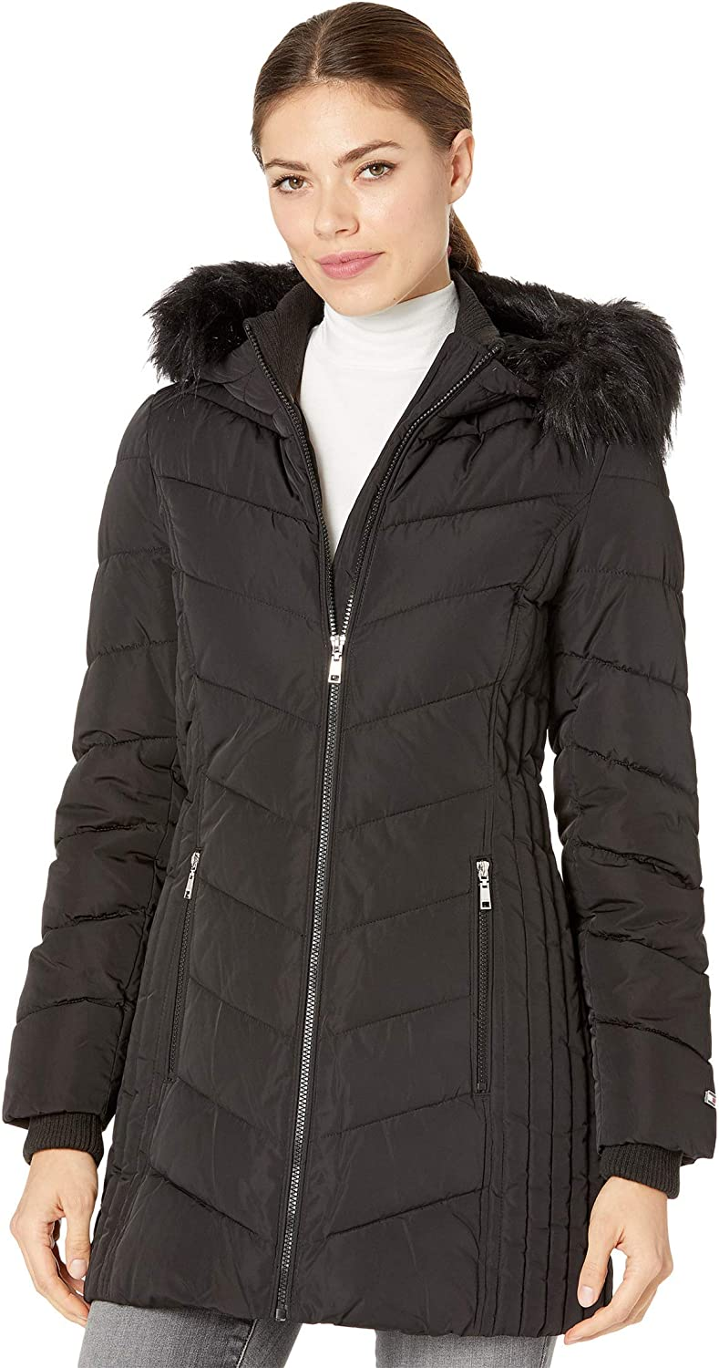 Tommy Hilfiger Women's Mid Length Down Fill Coat with Faux Fur Trim Hood