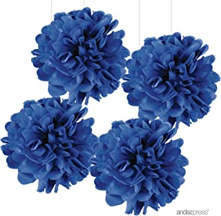 Andaz Press Large Tissue Paper Pom Poms Hanging Decorations, Royal Blue, 14-inch, 4-Pack, For 4th of July, Superhero, Boy Graduation Decor Colored Party Supplies