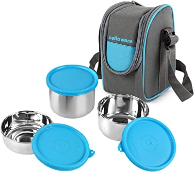 Cello Steelox Stainless Steel Lunch Box-3 Steel, Blue, (Capacities - 225ml, 375ml, 550ml)