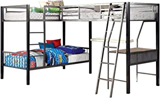 William's Home Furnishing CM-BK1049 Ballarat Bunk Bed, Gray and Silver Finish