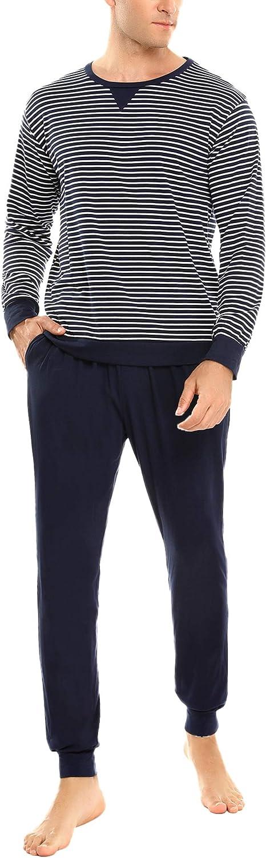 Sykooria Mens Pajama Set Stripe Long Sleeve Top with Long Pants Pjs Sets 2 Piece Loungewear Comfy Nightwear
