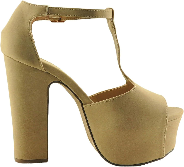 Bamboo Amaze 03S Women's T-Strap Platform Chunky Heels