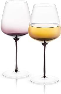 JoyJolt Black Swan White Wine Glasses, Premium Lead Free Crystal Glassware,17.8 Oz Capacity, Set Of 2