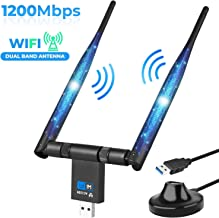 Wireless WiFi Adapter 1200Mbps USB3.0 WiFi Dongle 2.4G/5G 802.11ac Long Range Stable Signal Network Adapter with High Gain Dual 5dBi Antenna Support Windows XP/10/8/8.1/7/Vista/2000,Mac 10.6-10.14