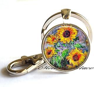 Girasoles Llavero Llavero de girasol, joyas, arte collar, el arte clave Anillo Colgante Clave, arte de girasol Joyería Clave Anillo Collar