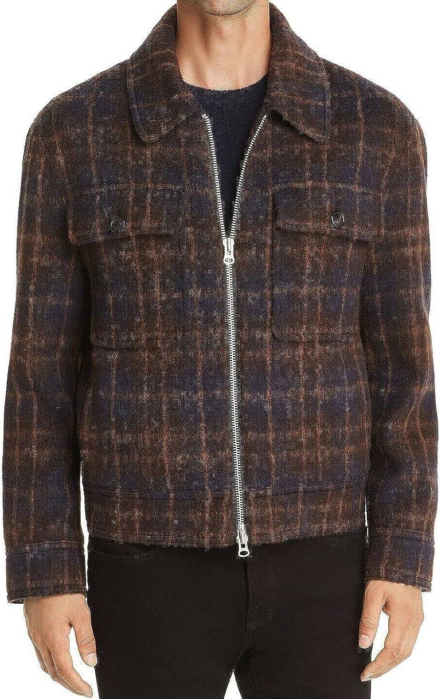 Andersson Bell NAVY BROWN Plaid Large Zip discharge sale Sale Jacket US