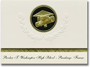 Signature Announcements Booker T. Washington High School - Banking- Financ Graduation Announcements, Presidential Elite Pack 25 w/Gold & Black Cap&Diploma Seal