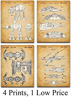 Original Star Wars Vehicles Patent Art Prints - Set of Four Photos (8x10) Unframed - Makes a Great Gift Under $20 for Star Wars Fans