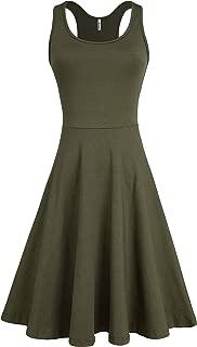 Missufe Women's Sleeveless Racerback Flared Casual Plain Knee Length Tank Dress