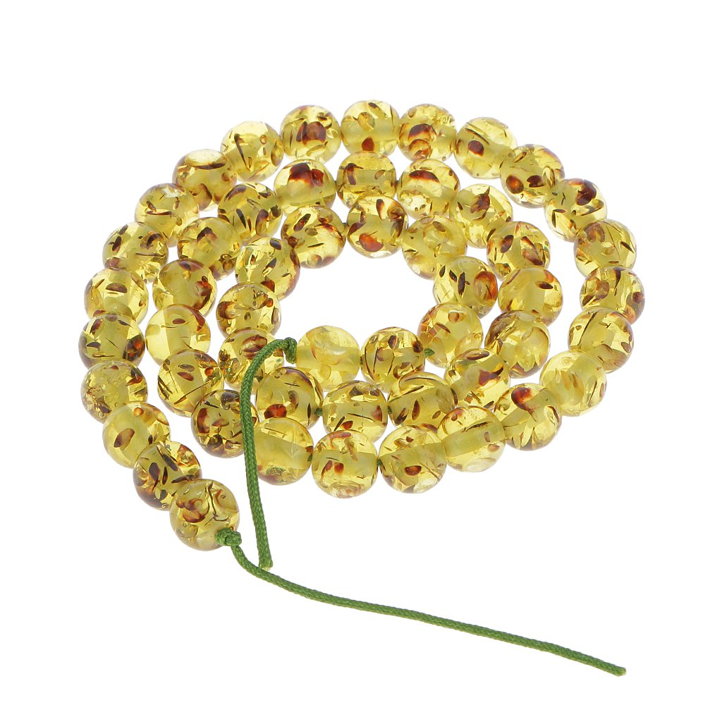 Hellery 8mm Olive Green Amber Round Gemstone Loose Beads 16''
