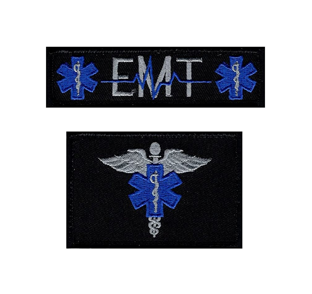 EMT USA Flag Medic Cross Tactical Hook Patch 2pcs Bundle by Miltacusa