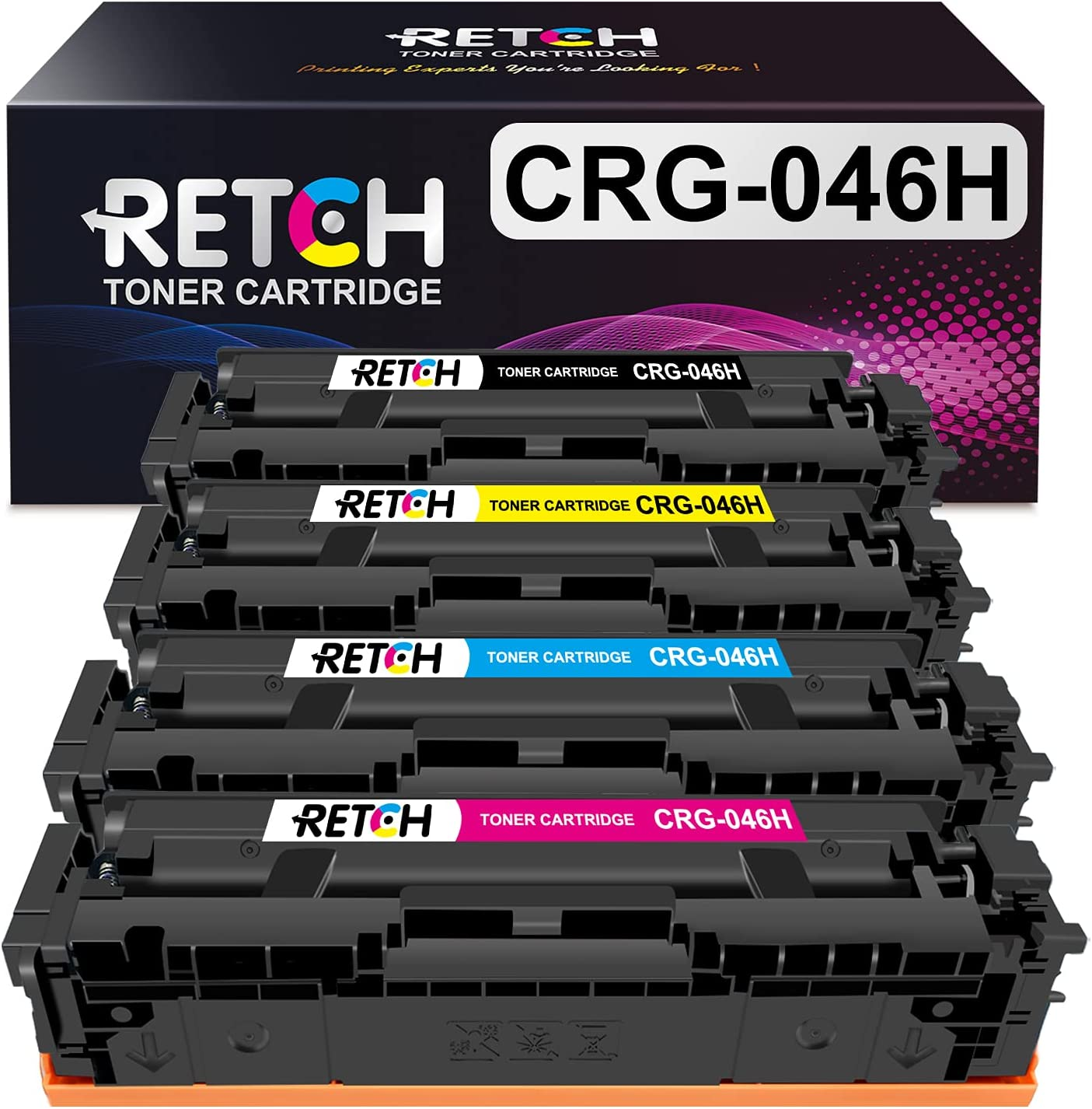 RETCH Compatible Toner Cartridges 046H Tray Replacement for Canon 046 CRG-046 046H for Canon ImageClass MF733Cdw MF731Cdw MF735Cdw LBP654Cdw MF733 MF731 Printer (Black, Cyan, Magenta, Yellow)
