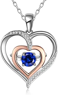 heart necklace lab created sapphires sterling silver