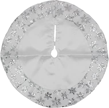 20-inch Miniature Satin Tree Skirt with Sequined Snowflake Border (Silver)