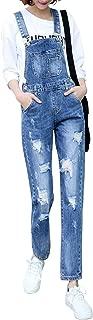 Women's Adjustable Strap Ripped Distressed Original Denim Overalls