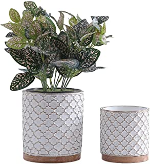 Yishang Cement Planter Flower Pot - 4.7 Inch and 6 Inch Indoor Plants Containers Without Drain Hole,Round Flower Planter Pots for Plants with Bamboo Saucer/Tray,Set of 2 (White)