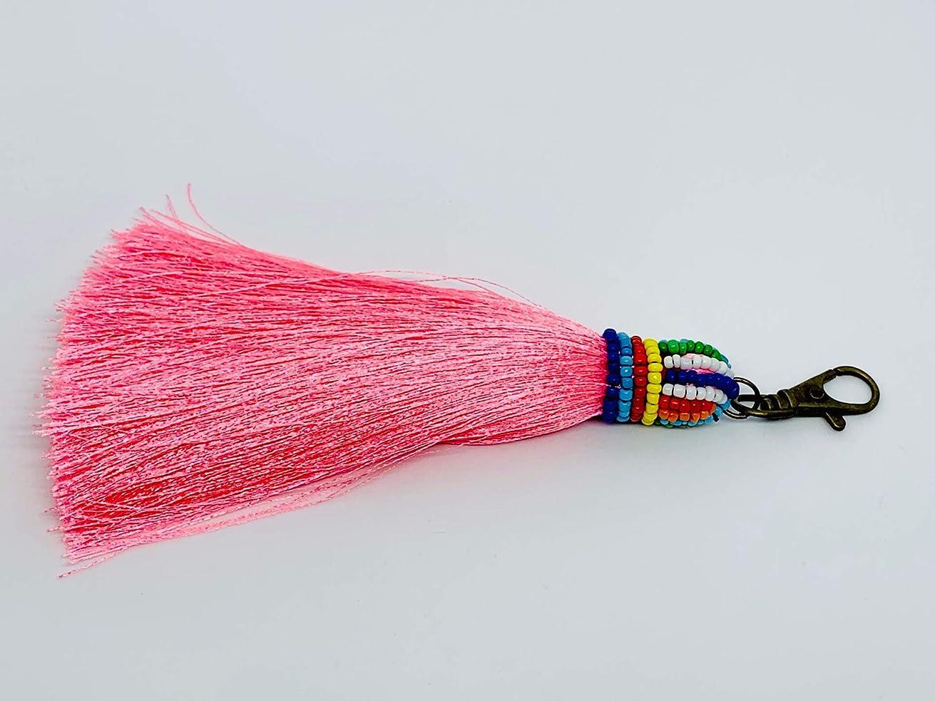 Colorful Boho Pom Pom Tassel Bag Charm Key Chain Key Ring