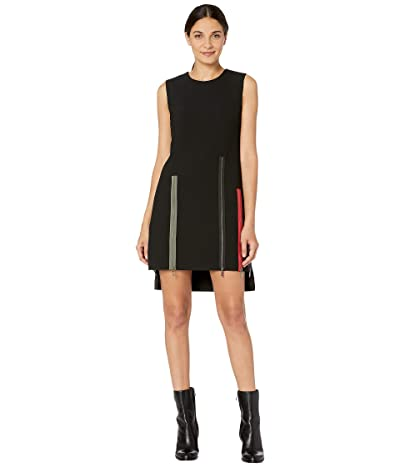 Nicole Miller Exposed Zippers Shift Dress (Black) Women