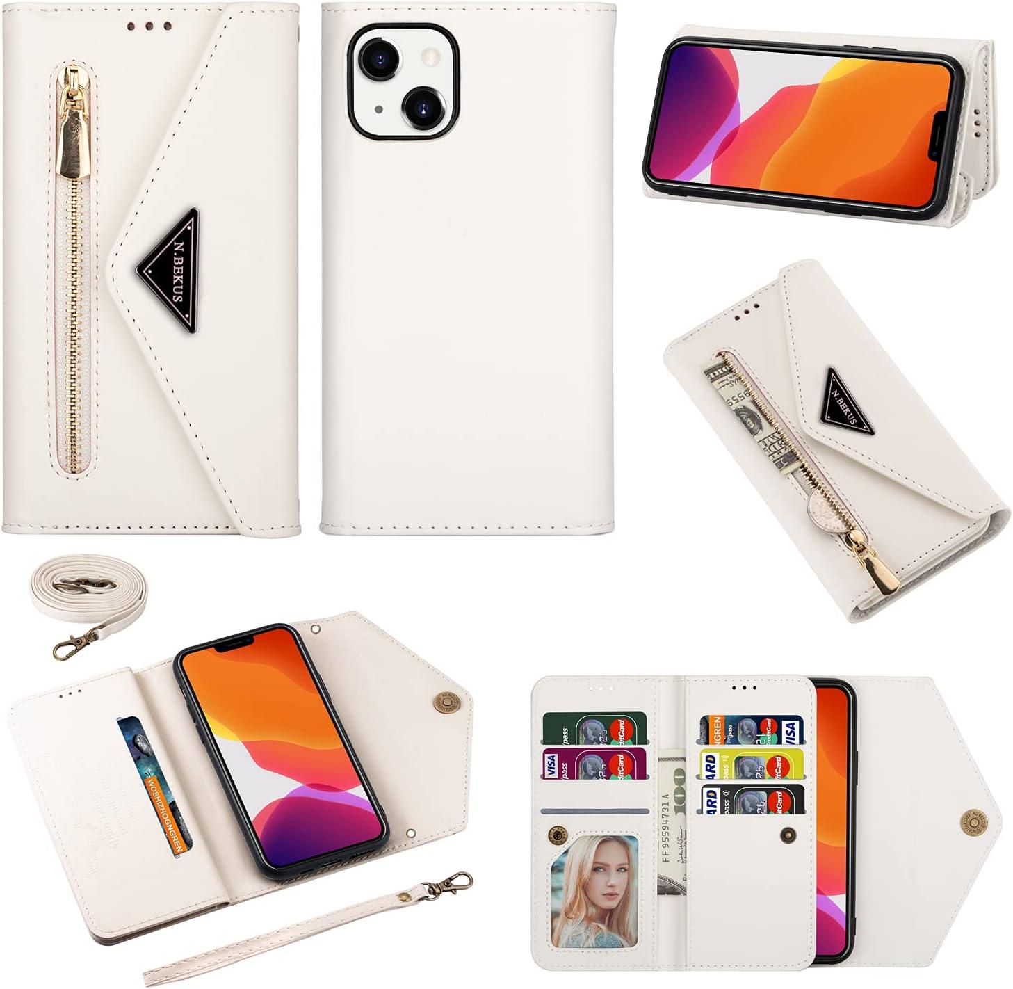 Shoulder Strap Wallet Case for iPhone 13 Mini 5.4 inch Zipper Folio Flip Case, Lanyard Bumper Cover Cross-Body Shell (White)