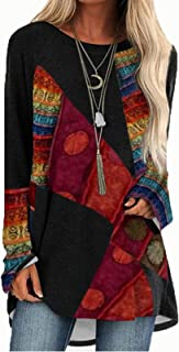 zxb-shop Vintage Pullover Tunic for Women, Ladies Casual Blouse T-Shirt Long Sleeve Retro Style Tunic Tops Tee Casual Tops...