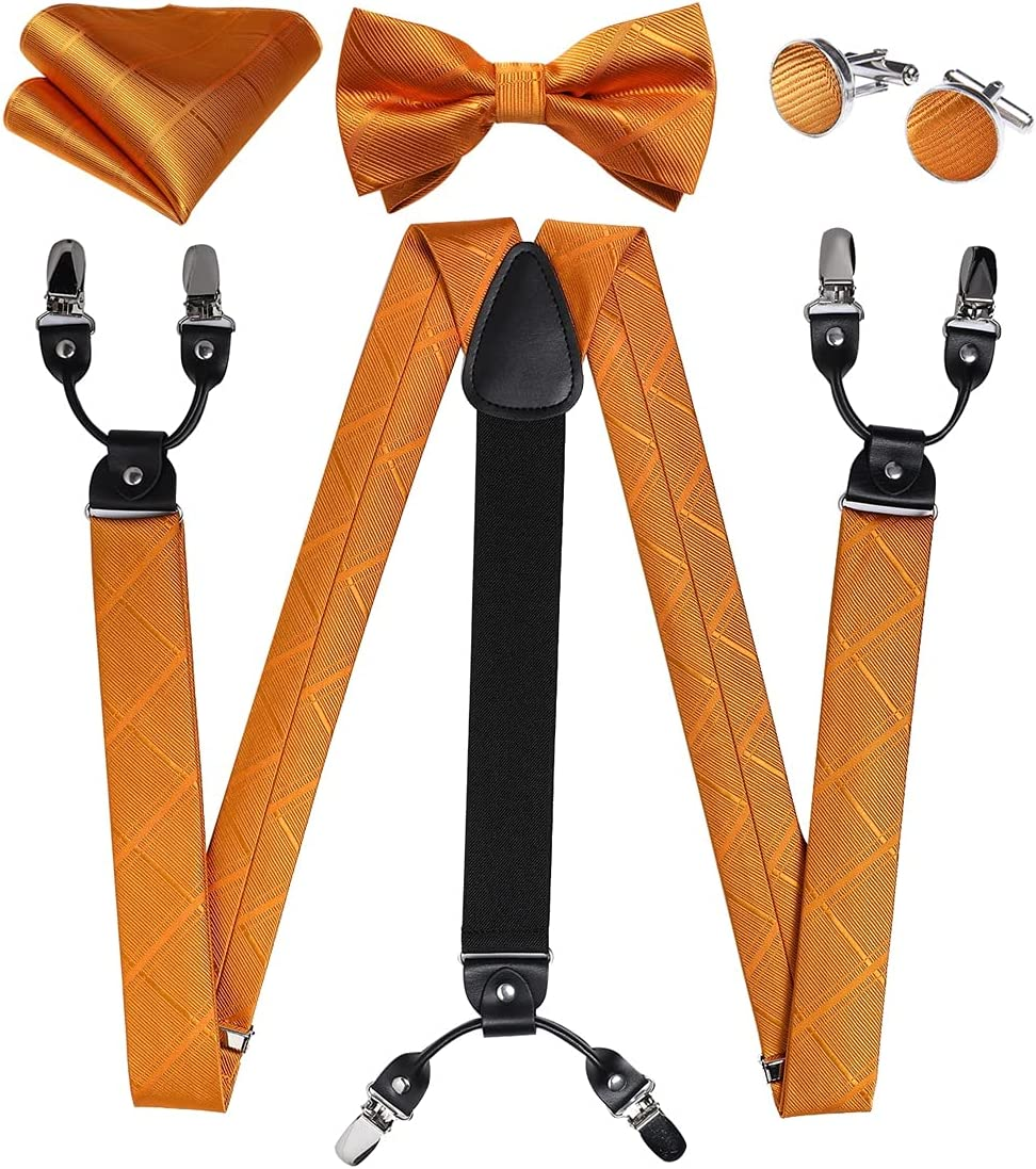 SLATIOM Silk Men's Suspenders Bow Tie Cufflinks Set Real Leather 6 Clips Braces Y-Back Elastic Suspenders Men Wedding (Color : A, Size : Adjustable)