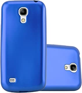 Cadorabo Case Works with Samsung Galaxy S4 Mini in Metallic Blue – Shockproof and Scratch Resistant TPU Silicone Cover – Ultra Slim Protective Gel Shell Bumper Back Skin
