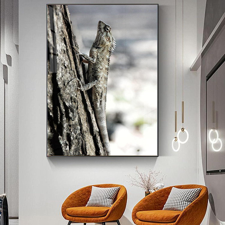 Canvas Pictures Animal Landscape Brown Chameleon Lizard Superior Art Livi Financial sales sale