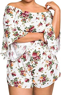 b4eb4b29675 general3 Women Plus Size Rompers Floral Print Off Shoulder Playsuit Flare  Sleeve Fashion Casual Jumpsuit