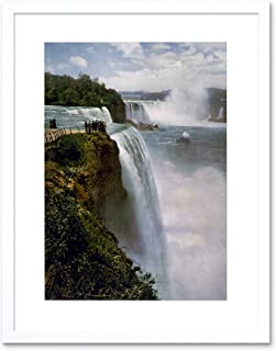 Art Deco Intricately Detailed Chrome Picture Frame with Vintage Niagra Falls Photo