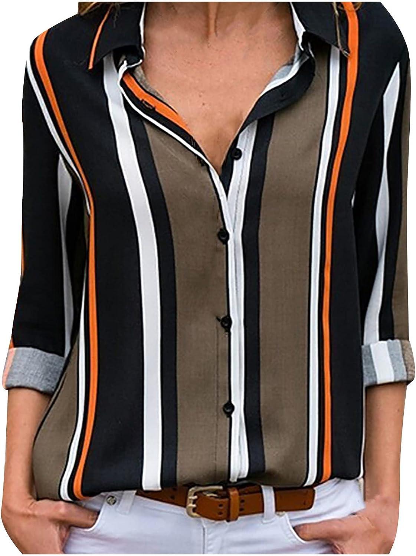 Akklian Women's Long Sleeve Button Down Shirts Vertical Stripe Chiffon Tunics Tops Casual Trendy Tees Comfy Loose Soft Blouse