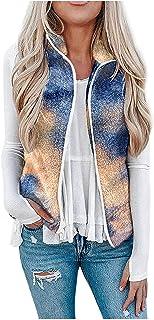 Briskorry Dames kort teddy fleece vest mouwloos vest lichtgewicht pluche vest Tie Dye wollen vest casual outdoorjas winter...