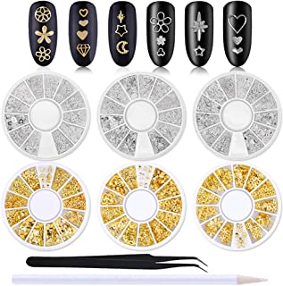 WOKOTO 6 Boxes Gold Silver Hollow Nail Art Studs Set Star Moon Flower Nail Rivet Kit Manicure Jewelry Decorations With 1Pc...