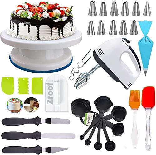 Cakeshop Cake Decorating Items Cake Turntable Nozzle Set Electronic Beater scrapers for Cake Measuring Cups and Spoons Silicon Brush Spatula Smoother for Cake