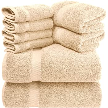 White Classic Luxury Beige Bath Towel Set - Combed Cotton Hotel Quality Absorbent 8 Piece Towels | 2 Bath Towels | 2 Hand Towels | 4 Washcloths [Worth $72.95] 8 Pack | Beige