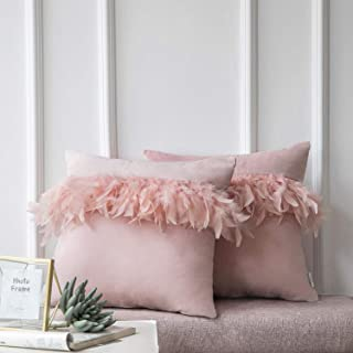 Ashler Pack of 2 Luxury Decorative Soft Velvet Throw Pillow Cushion Cover with Feather Light Pink 18 x 18 inches 45 cm x 45 cm