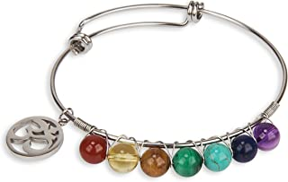 7 Chakra Stone Genuine Crystal Bracelet Bangle with Om Charm Stainless Steel for Women Collection