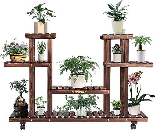 popular VIVOSUN Wood Plant Stand for Indoor Outdoor Plants Tiered Display Shelf for Garden Lawn Patio Bathroom Office Living Room Balcony (6 Wood outlet sale Shelves 12 online Pots) sale