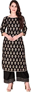 Indram Women's Printed Side Lace Kurta With Palazzo Set