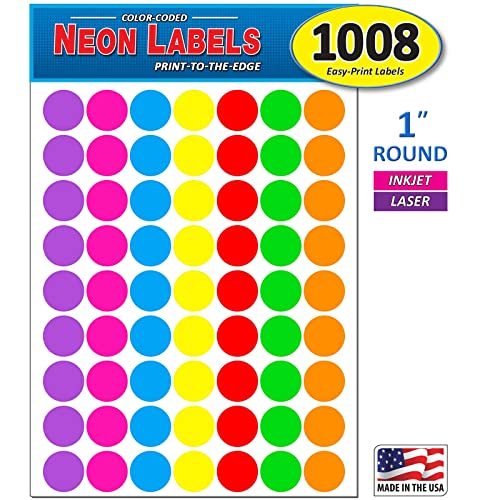 """7//8/"""" Circle Color Coding Labels 1000 Dot Stickers Red,Orange,Neon Green Pink New"""