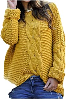 Macondoo Womens Fashion Knit Pullover Long Sleeve Jumper Cable Sweater