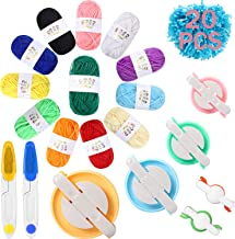 6 Size Pompom Maker Fluff Ball Waver with 12 Colours Acrylic Yarn Skeins Thread Cutter Scissors DIY Wool Knitting Craft To...