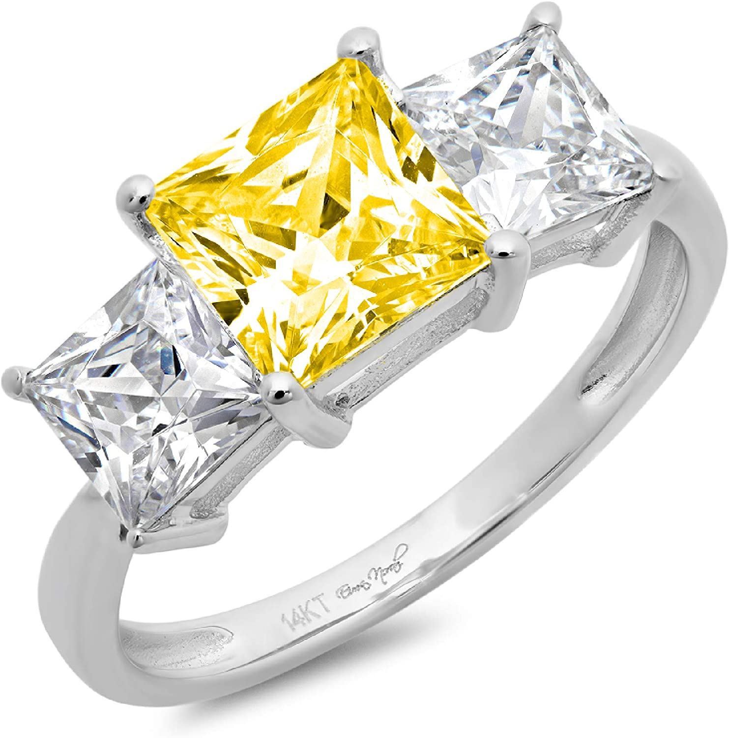 2.94ct Princess Cut 3 Stone Solitaire with Accent Canary Yellow Ideal VVS1 Simulated Diamond CZ Engagement Promise Statement Anniversary Bridal Wedding Ring 14k White Gold