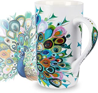 NymphFable Ceramic Coffee Mug 18oz Peacock Coffee Cups with Handle Personalized Baking Pattern Tea Cup Large