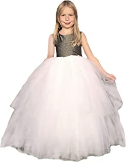 Jennifer and June Sparkly Fluffy White and Silver Princess Dress Gown for Toddler Girls. 2T, 3T, 4T, 5T, 6T and 7T (XS Girl)